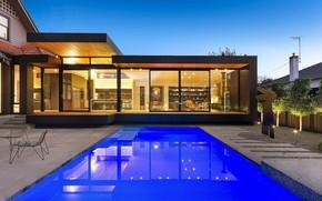 Картинка вилла, вечер, бассейн, освещение, архитектура, терраса, Glen Iris Residence, by West Valentine Design, outside-inside house