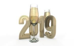 Картинка пузырьки, праздник, бокалы, Рождество, белый фон, Новый год, шампанское, 3D Графика, 2019