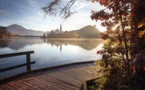 Картинка осень, пейзаж, горы, природа, озеро, холмы, утро, островок, Словения, мосток, Блед