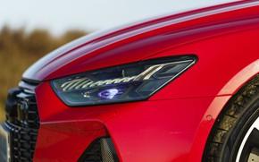 Картинка красный, Audi, капот, RS 7, LED, 2020, UK version, RS7 Sportback
