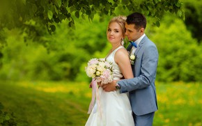 Картинка девушка, букет, платье, мужчина, влюбленные, невеста, свадьба