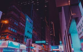 Картинка ночь, город, Гонконг