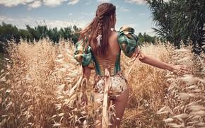 Картинка girl, hot, sexy, beautiful, figure, model, pretty, beauty, pose, cute, back view, farm girl