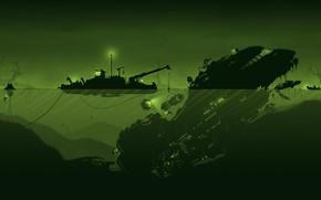 Картинка Вода, Минимализм, Корабль, Стиль, Судно, Fantasy, Art, Техника, Style, Фантастика, Под водой, Космический корабль, Illustration, …