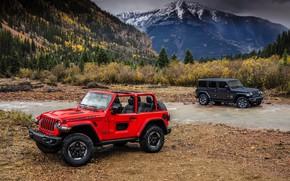 Картинка вода, красный, берег, 2018, Jeep, тёмно-серый, Wrangler Rubicon, Wrangler Sahara