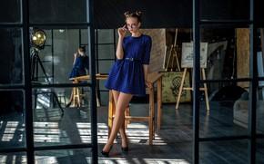 Картинка Девушка, зеркало, очки, Юрий Несмелов