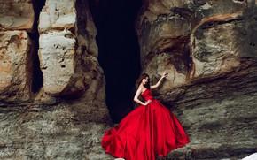 Картинка взгляд, девушка, поза, камни, настроение, скалы, руки, азиатка, красное платье