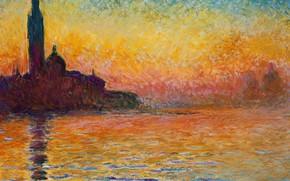 Картинка море, небо, пейзаж, картина, церковь, живопись, клод моне