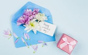 Картинка цветы, фон, праздник, подарок, голубой, конверт, композиция, День Матери