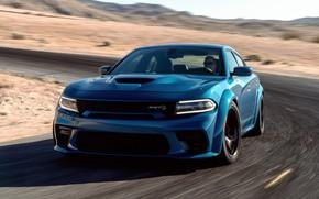 Картинка Дорога, Асфальт, Капот, Dodge, Charger, Hellcat, SRT, 2020, Dodge Charger SRT, Hellcat widebody