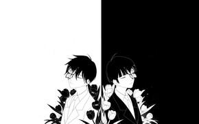 Картинка цветы, минимализм, парни, братья, чёрно - белое, Mob Psycho 100, Моб психо 100
