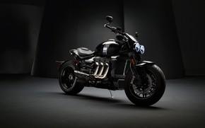 Картинка triumph, motocycle, dark background, triumph rocket iii