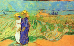 Картинка Vincent van Gogh, Two Women, Crossing the Fields