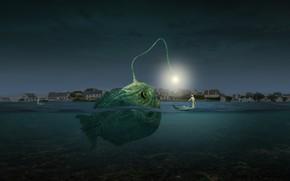 Картинка photoshop, composite, angler fish