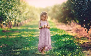 Картинка природа, яблоки, девочка