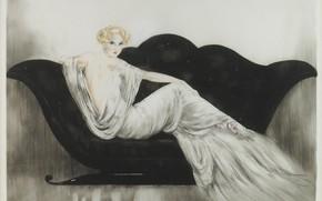 Картинка 1937, чёрный диван, Софа, Louis Icart