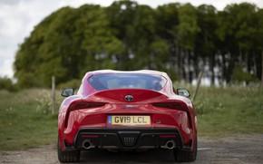 Картинка красный, купе, спойлер, Toyota, вид сзади, Supra, пятое поколение, mk5, двухместное, 2019, UK version, GR …