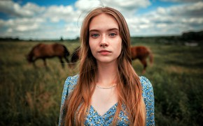 Картинка поле, девушка, пейзаж, природа, поза, фон, модель, портрет, макияж, платье, лошади, прическа, рыженькая, боке, Вика, …