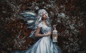Картинка девушка, поза, волосы, платье, фонарь, Marketa Novak, Bаra Markovа