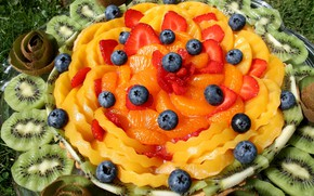 Картинка фрукты, блюдо, ассорти