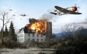 Картинка Thunderbolt, USAF, Истребитель-бомбардировщик, P-47 Thunderbolt, WWII, Боевой самолёт, P-47D, 367th Fighter Group