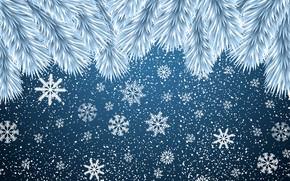 Картинка Минимализм, Снег, Ветки, Рождество, Снежинки, Фон, Новый год, Арт, Christmas, Art, Настроение, Ёлка, Snow, New …
