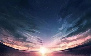 Картинка море, небо, солнце, закат