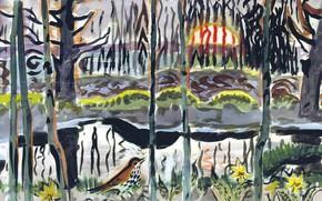 Картинка 1950, Charles Ephraim Burchfield, Wood Thrush and Setting Sun