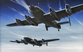 Картинка bomber, art, airplane, aviation, ww2, lancaster, avro