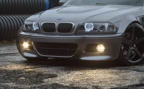 Картинка Авто, BMW, Машина, Серый, Car, Render, Серебряный, E46, BMW M3, Передок, BMW M3 E46, Transport …