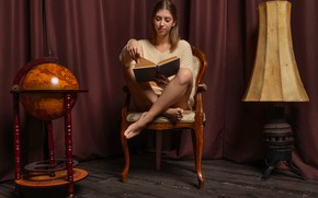 Картинка blouse, legs, woman, young, model, chair, brunette, book, lamp, reading, globe, Avery