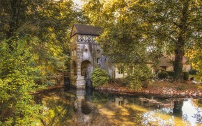 Картинка деревья, пруд, парк, Франция