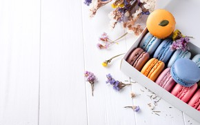 Картинка цветы, colorful, flowers, пирожные, sweet, dessert, cookies, french, macaron, макаруны