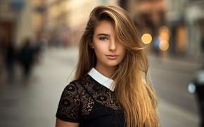 Обои взгляд, девушка, улица, волосы, блондинка, причёска, Lods Franck, Meline