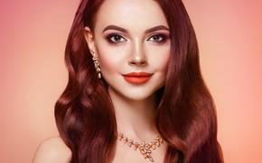 Картинка девушка, улыбка, стиль, фон, макияж, украшение, локоны, Oleg Gekman