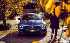 Картинка авто, осень, синий, Mercedes-Benz, мужчина, 4MATIC, S 4