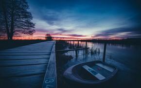 Картинка ночь, лодка, причал