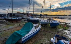 Картинка небо, облака, река, берег, Англия, дома, яхты, лодки, вечер, парусные, Fishbourne