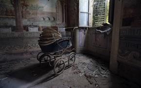 Картинка окно, коляска, натурализм