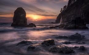 Картинка море, волны, солнце, облака, деревья, закат, скала, камни, океан, скалы, берег, побережье, водопад, вечер, прибой