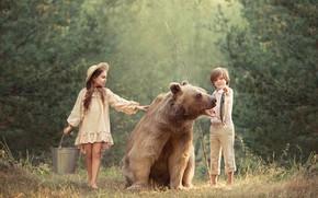 Картинка мальчик, медведь, девочка