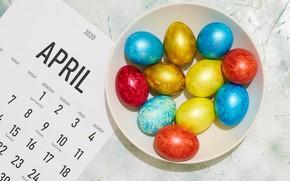 Картинка лист, яйца, весна, Пасха, календарь, Easter