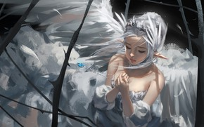 Картинка девушка, эльф, кулон