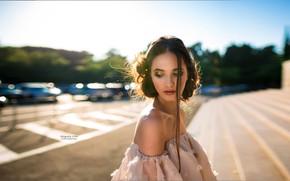Картинка портрет, Григорий Лифин, шатенка, Grigoriy Lifin, модель, красотка, прическа, боке, Диана Веснина, макияж, солнце, платье