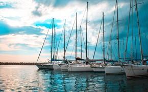 Картинка море, пристань, яхты, гавань, мачты