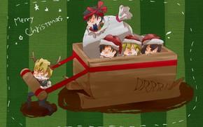 Картинка Рождество, Новый год, парни, малыши, телега, Durarara, Дюрарара, Изая Орихара, Хейваджима Шизуо