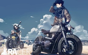 Картинка девушки, байкеры, мотоциклы, парень