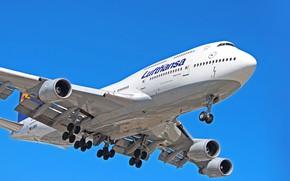 Картинка Самолет, Лайнер, Борт, Boeing, Двигатели, Посадка, Lufthansa, Boeing 747, Шасси, Boeing 747-400