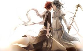 Картинка оружие, меч, аниме, арт, парни