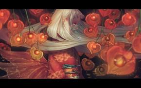 Картинка девушка, кимоно, физалисы